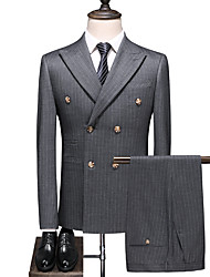 cheap -Gray Striped Standard Fit Polyester Suit - Peak Double Breasted Four-buttons