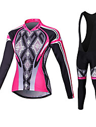 cheap -Malciklo Women's Long Sleeve Cycling Jersey with Bib Tights - White / Black Plus Size Bike Tights / Clothing Suit, Breathable, 3D Pad, Quick Dry Coolmax®, Lycra Argyle / High Elasticity / Advanced