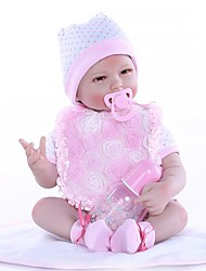 Недорогие -NPKCOLLECTION 24 дюймовый Куклы реборн Девочки Очаровательный Новый дизайн Искусственная имплантация Коричневые глаза с одеждой и аксессуарами на день рождения и праздничные подарки для девочек