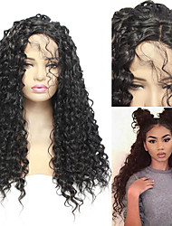 cheap -Synthetic Lace Front Wig Curly Rihanna Free Part Lace Front Wig Long Black#1B Synthetic Hair 26 inch Women's Adjustable Heat Resistant Classic Black