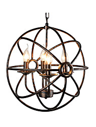 cheap -Spherical Pendant Light Antique Globe Metal Chandelier 4 Lights Oil Rubbed Bronze Ball Pendant Light Ceiling Light Fixture for Bedroom Hallway