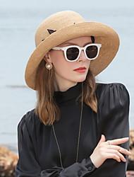 abordables -Fibre naturelle Chapeaux de paille avec Volants 1pc Décontracté / Usage quotidien Casque