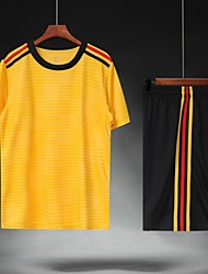 cheap -Men's Soccer Soccer Jersey and Shorts Clothing Suit Breathable Sweat-wicking Team Sports Active Training Football Stripes Polyester Adults Yellow