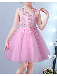 cheap -Princess Knee Length Flower Girl Dress - Polyester / Lace / Tulle Sleeveless Jewel Neck with Bow(s) / Embroidery / Lace