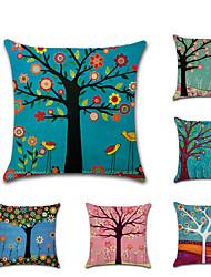 cheap -1 pcs Linen Pillow Cover, Botanical 3D Print Rustic Fashion Throw Pillow