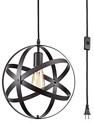 cheap -Iron Pendant Light Spherical Hanging Lights Industrial Ball Pendant Lighting Adjustable Pendant Light Fixtures Plug in BlackOil Rubbed Hanging Light with On Off Switch