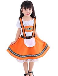 cheap -Oktoberfest Beer Dirndl Trachtenkleider Women's Girls' Dress Bavarian Costume Orange