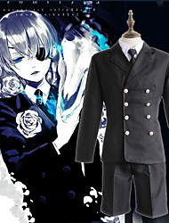cheap -Inspired by Black Butler Ciel Phantomhive Anime Cosplay Costumes Japanese Cosplay Suits Solid Color Top Cloak Shorts For Men's Women's / Hat / Corsage / Hat / Corsage