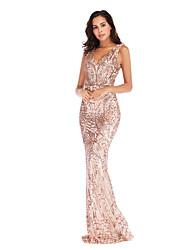 cheap -Diva Disco 1980s Dress Women's Sequins Costume Golden / Green Vintage Cosplay Prom Sleeveless Floor Length Mermaid / Trumpet