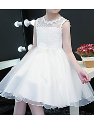 cheap -Princess Knee Length Flower Girl Dress - Polyester / Tulle Sleeveless Scalloped Neckline with Bow(s) / Lace by LAN TING Express