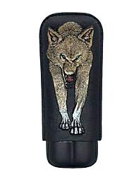 Недорогие -lubinski 2- пальчик кожаный футляр для сигар путешествия 3d вышивка волк рисунок сигародержатели футляр для сигар подарочный набор упакован с красивой подарочной коробкой