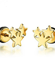 cheap -Women's Earrings Classic Star Stylish Stainless Steel Earrings Jewelry Gold / Black / Silver For Daily Street 1 Pair