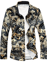 cheap -Men's Casual Chinoiserie Shirt - Animal Black