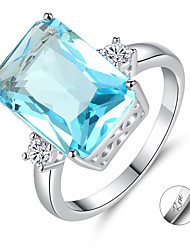 cheap -Personalized Customized Blue Cubic Zirconia Ring Zircon Classic Engraved Gift Promise Festival Square 1pcs Blue / Laser Engraving