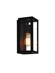 cheap -American Vintage Rectangular Wall Light Fixture Industrial Retro Wall Lamp Metal Box Glass Shade Black Finish Wall Sconce for Bar Hallway Warehouse