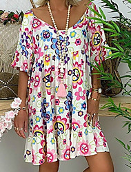cheap -Women's Red Blue Dress Basic Tunic Floral M L