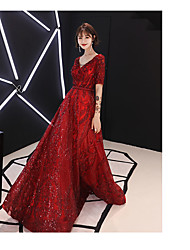 cheap -A-Line Sparkle Red Engagement Formal Evening Dress V Neck Half Sleeve Floor Length Satin Sequined with Beading Sequin 2020