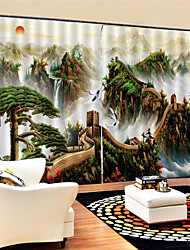 cheap -3D The Great Wall Printed Custom Scenery Privacy Two Panels Polyester Curtain For Study Room / Office / Living Room Decorative Waterproof Dust-proof High-quality  Curtains