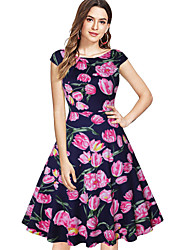 cheap -Vintage Inspired Dress Women's Spandex Costume Red+Blue / Black / Blue Vintage Cosplay Short Sleeve Knee Length
