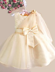cheap -A-Line Knee Length Flower Girl Dress - Polyester / Tulle Sleeveless Jewel Neck with Bow(s) / Crystals by LAN TING Express