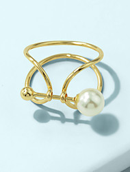 cheap -Women's Ring 1pc Gold Imitation Pearl Alloy Stylish Unique Design Fashion Gift Daily Jewelry Geometrical Twist Circle Cool