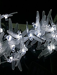cheap -Outdoor Dragonfly Solar String Lights, 16ft 20 LED 2 Modes Fairy Lighting for Christmas Trees, Garden, (Warm White)