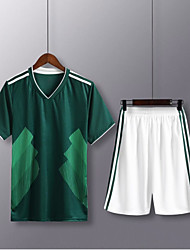 cheap -Men's Soccer Soccer Jersey and Shorts Clothing Suit Breathable Sweat-wicking Team Sports Active Training Football Stripes Polyester Adults Green