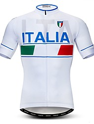 cheap -21Grams Men's Short Sleeve Cycling Jersey White Italy National Flag Bike Jersey Top Mountain Bike MTB Road Bike Cycling Breathable Moisture Wicking Quick Dry Sports Polyester Elastane Terylene