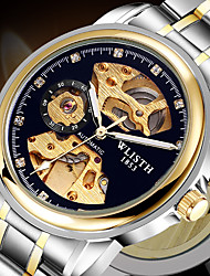 cheap -Men's Mechanical Watch Automatic self-winding Formal Style Stylish Stainless Steel Black / Blue / Gold 30 m Hollow Engraving Noctilucent Analog Luxury Fashion - Golden+Silver Silver+Blue Silver
