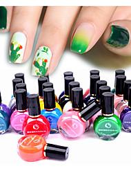 Недорогие -Летняя серия лак для ногтей штамповка лак зеленый розовый искусства ногтя пластина штамп масло лак красочная печать лак 10 мл смешивания случайный цвет