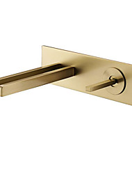 cheap -Bathroom Sink Faucet - Wall Mount / Waterfall Brushed Gold Wall Mounted Single Handle Two HolesBath Taps