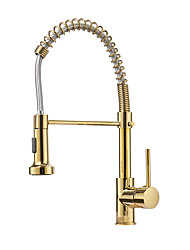 cheap -Kitchen faucet - Single Handle One Hole Multi-Ply Pull-out / Pull-down Free Standing Contemporary Kitchen Taps / Brass