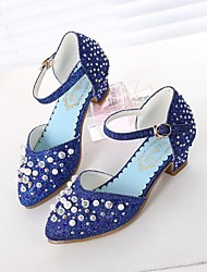 cheap -Girls' Comfort / Tiny Heels for Teens PU Heels Little Kids(4-7ys) / Big Kids(7years +) Rhinestone / Beading Silver / Blue / Pink Spring / Summer