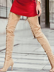 cheap -Women's Boots Over-The-Knee Boots Stiletto Heel Open Toe Suede Over The Knee Boots Summer Almond