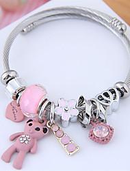 cheap -Women's Charm Bracelet Bracelet Bangles Bracelet Beads Bear European Sweet Fashion Cute Elegant Rhinestone Bracelet Jewelry Black / Pink For Party Gift Daily Prom Work