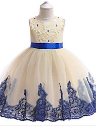 cheap -Princess Knee Length Flower Girl Dress - Polyester / Tulle Sleeveless Jewel Neck with Appliques / Crystals / Belt by LAN TING Express