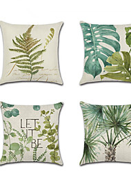 cheap -4 pcs Linen Pillow Cover, Floral Botanical Leisure Pastoral Throw Pillow