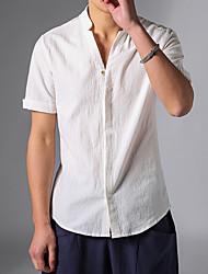 Недорогие -Муж. Рубашка Лён, V-образный вырез Шинуазери (китайский стиль) Однотонный Белый / С короткими рукавами