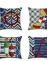 cheap -4 pcs Linen Pillow Cover, Damask Coastal Chic & Modern Mediterranean Throw Pillow