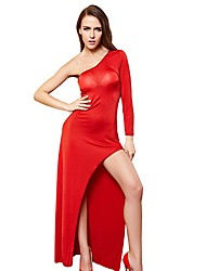 cheap -Women's Split Sexy Chemises & Gowns / Uniforms & Cheongsams Nightwear Solid Colored Red M L / One Shoulder