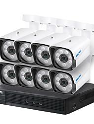 Недорогие -escam hd 1080p (1920 * 1080) h.264 / h.265 8-канальный 4-мм водонепроницаемая ip-камера ip66 6 шт. ИК-подсветка onvif ver.2.0 протокол доступа день / ночь движение по системе безопасности PoE DVR