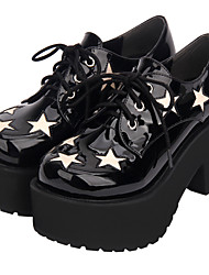 cheap -Women's Lolita Shoes Punk Wedge Heel Shoes Color Block 8 cm Black Artificial Leather Halloween Costumes