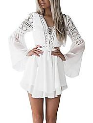 cheap -Women's Basic Elegant Skater Dress - Solid Colored Lace White Navy Blue M L XL