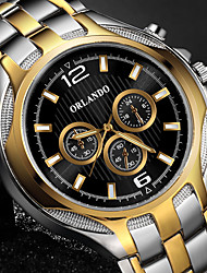 cheap -Men's Dress Watch Quartz Formal Style Stylish Stainless Steel Silver / Gold Casual Watch Large Dial Analog Luxury Fashion - Black Golden One Year Battery Life