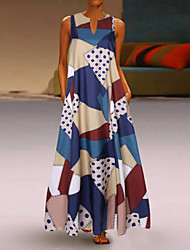 cheap -Women's Street chic Elegant A Line Swing Dress - Geometric Color Block Cut Out Print Blue White Red XXXL XXXXL XXXXXL