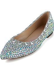 cheap -Women's Wedding Shoes Flat Heel Pointed Toe Crystal / Sparkling Glitter PU(Polyurethane) Sweet / Minimalism Spring & Summer / Fall & Winter Rainbow / Party & Evening