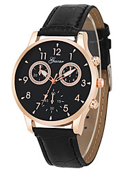 cheap -Dress Watch Leather Analog Black rose gold Brown rose gold / Stainless Steel