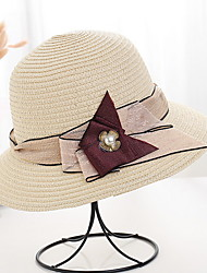 cheap -Women's Basic Polyester Sun Hat-Solid Colored Brown White Beige