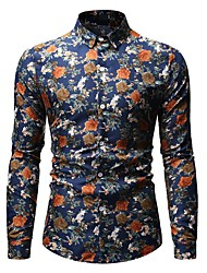 cheap -Men's Daily Work Basic Shirt - Floral Black