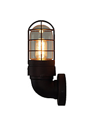 cheap -American Vintage Round Tube Wall Light Fixture Industrial Retro Wall Lamp Metal Cage Shade Black Finish Iron Wall Sconce Plug in for Bar Hallway Farmhouse